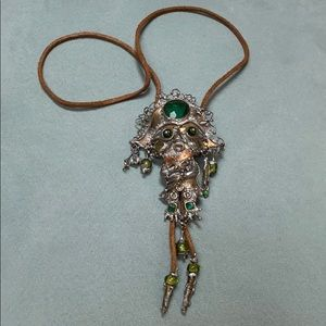 Vintage 1970s Pirate themed bolo tie necklace